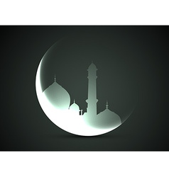Moon and mosque vector