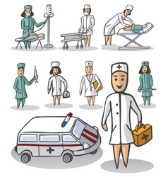 Nurse and doctor on white background vector