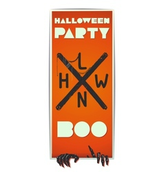 Orange vertical flyer Halloween with zombie hand vector image vector image
