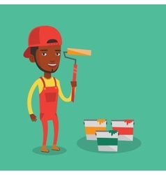 Painter holding paint roller vector