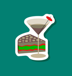 Paper sticker cocktail and cake vector