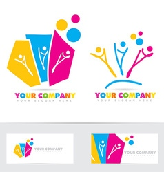 People party colored logo vector