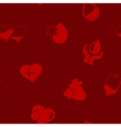 Seamless background with blood donation icons vector image vector image