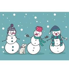 Set of 3 cute snowman vector image