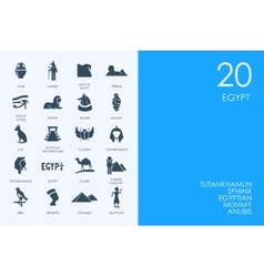 Set of blue hamster library egypt icons vector