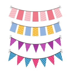 set of color buntings vector image vector image