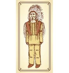 Sketch native american in vintage style vector image vector image