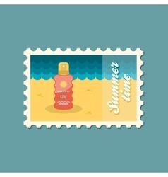 Sun cream in spray flat stamp vector