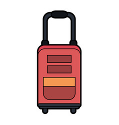Travel suitcase with wheels icon imag vector