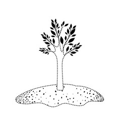 Tree in grassland in black dotted silhouette vector