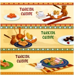 Turkish cuisine sweets with coffee banner set vector