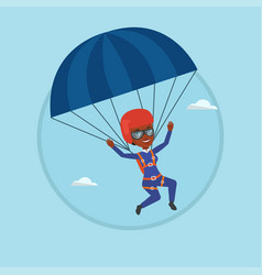 young happy woman flying with parachute vector image vector image