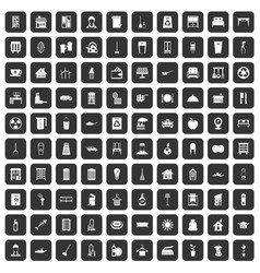 100 cleaning icons set black vector