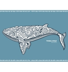 Ethnic whale with tribal ornaments can be used as vector