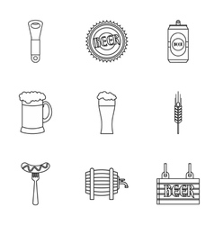Oktoberfest icons set outline style vector