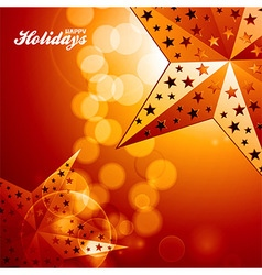 Happy holidays golden stars on glowing background vector