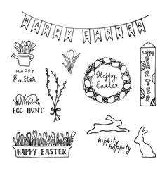 Happy easter card with eggs rabbits flowers vector