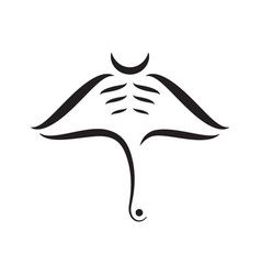Manta ray abstract strokes composition on white vector