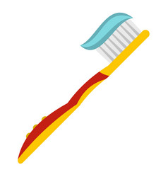 yellow toothbrush with toothpaste icon isolated vector image