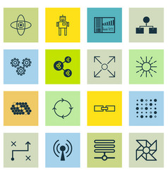 Set of 16 artificial intelligence icons includes vector
