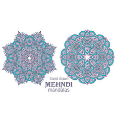 set of two abstract round lace design vector image