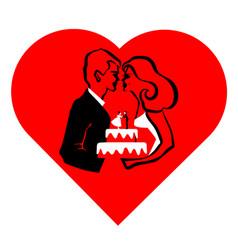 Wedding love cake vector