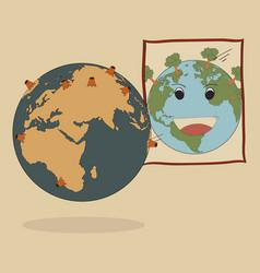 Concept of world map earth globe vector