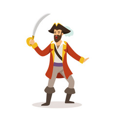 Brave pirate sailor character with sabre vector