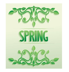 Spring word with leaves composition vector