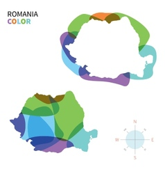Abstract color map of romania vector