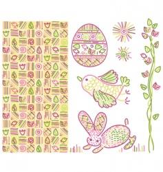 Easter design elements vector image