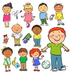Kids hand drawn clip-art vector