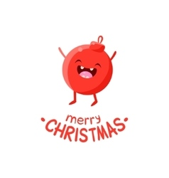 Funny red christmas ball cartoon character waving vector