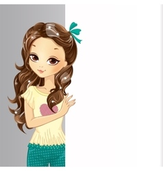 Cute romatic girl hold banner vector
