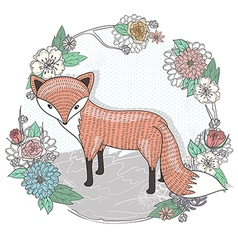 Cute little fox flower frame vector