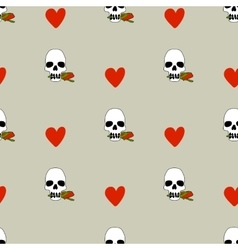 Seamless pattern with hearts and skulls vector