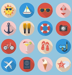Summer flat icon set vector