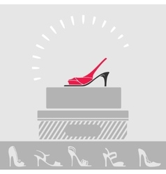 Shop women shoes showcase vector