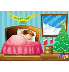 A girl sleeping in her room with a Christmas tree vector image