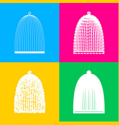 Bird cage sign four styles of icon on four color vector