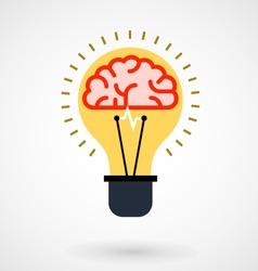 Brain in light bulb - idea icon vector