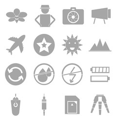 Camera shooting icons on white background vector