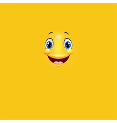 Cartoon cute yellow face smiling vector