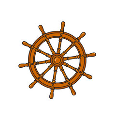 cartoon ship sailboat steering wheel vector image
