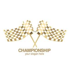 Checkered flag racing gold vector