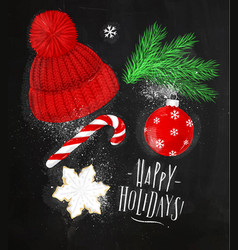 christmas symbols hat chalk vector image vector image