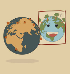 Concept of world map earth globe vector