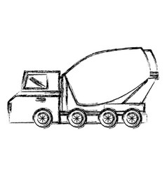 Concrete mixer truck icon vector