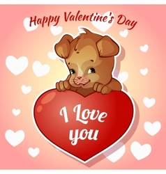 Cute puppy with hearts for valentines day vector
