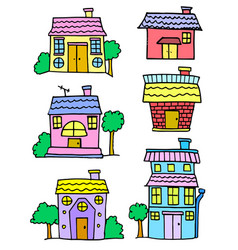 Doodle of house set cartoon design vector